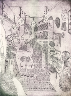 Satoco Yamamoto - Shoe Shine Store Etching on Paper, Prints