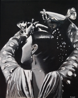 Silvia Mónica Giammatteo - Gitana en Blanco y Negro Acrylic on Canvas, Paintings