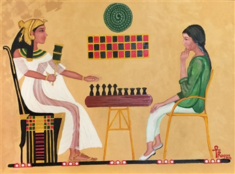 Ragaa Mansour - Chess Oil on Canvas, Paintings