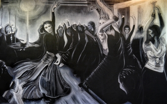 Silvia Mónica Giammatteo - Clase de Flamenco Acrylic & Oil on Canvas, Paintings