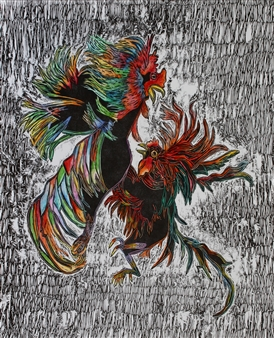 Maria Antonia Mena Lagos - Fighting Cocks Dry-Point, Watercolor, Prints