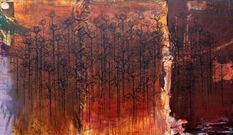 Vincent Donato - Black Baccara Mixed Media on Canvas, Mixed Media