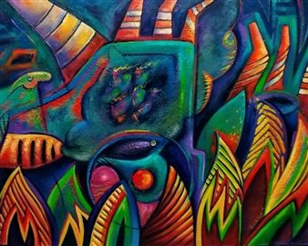 Miguel de la Cruz - Especie en Peligro Oil on Sized Canvas, Paintings