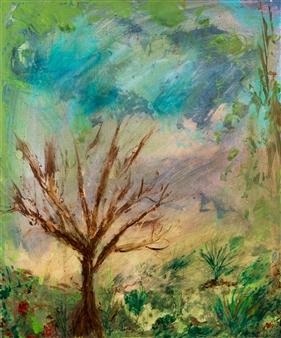 Jodi DeCrenza - Barren Tree Acrylic & Oil on Canvas, Paintings