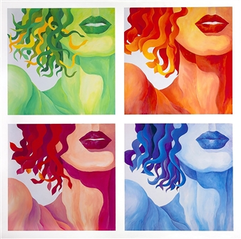 "Jerry Anderson - Four Seasons of Eve (Quadriptych of four 24x24"" panels) Acrylic on Canvas, Paintings"