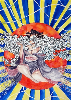 Xiao daCunha - Goddess of the Sun Watercolor on Paper, Paintings