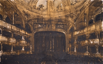 Fernando Ekman - Teatro Santa Helena Oil & Charcoal on Canvas, Mixed Media