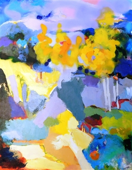 Carol Carpenter - Yellow Trumpet Acrylic on Canvas, Paintings