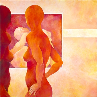 Jerry Anderson - Two Models Acrylic on Canvas, Paintings