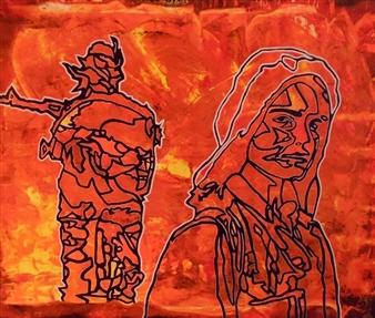Henrik Sjöström - Women Against Terrorism Acrylic & Spraypaint on Canvas, Paintings