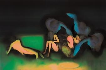 Javier Rivas - Mujeres II Drawing on Canvas, Drawings