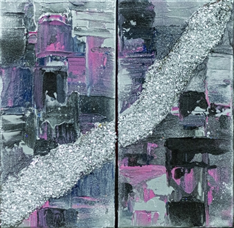 Olga Chajmova Holcova - Pink & Silver Diptych Mixed Media & Acrylic on Canvas, Mixed Media