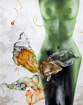 Renuka Sondhi Gulati - Eternal Leaf Acrylic & Oil on Canvas, Paintings