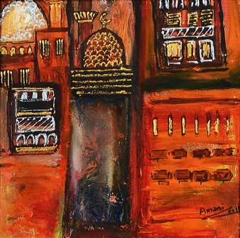 Amani Elbayoumi - Downtown Oil on Canvas, Paintings