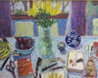 Jenny Ahmad - Tiger-lilies, Ginger Jar and Window Oil on Board, Paintings