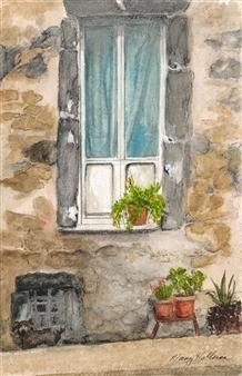 Nancy Holleran - Medieval Wall Lake Bosenia Watercolor on Paper, Paintings