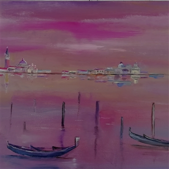 Riccardo Bartoli - Tramonto Su Venezia (Sunset Over Venice) Oil on Canvas, Paintings