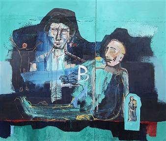 Luis Masana Arenas - Perdidos II Mixed Media on Canvas, Mixed Media