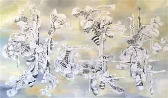 Joanne Syrop - Dreaming 202 Acrylic & Ink on Canvas, Paintings