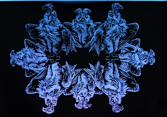 Dominic Fondé - A Wake of Vultures Drill Engraved Glass & LED Lights