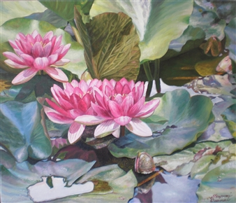 Sayumi Osanai - Water Lilies 2 Oil on Canvas, Paintings