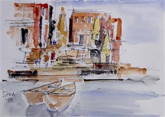 Vasant Dora - Benares River Ghats 1 Watercolor & Ink on Paper, Paintings