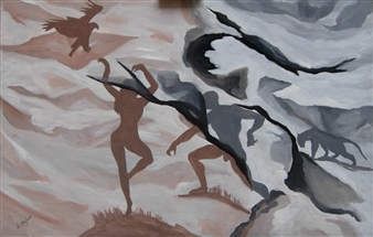 Di Stefano - Ombre 1 (Shadows 1) Acrylic on Wood, Paintings