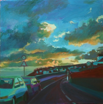Julia Rowlands - Road to Mousehole I Oil on Canvas, Paintings