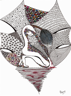 Nalayo - Punto de Quiebre Black Fine Point Pen & Colored Markers on Paper, Drawings