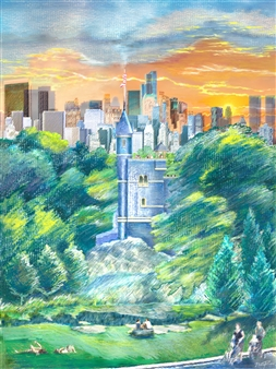 Michael Victor ▪ MVR - Castle Central Central Park_ The 'Coolest' Weather Center on Earth Hard Pastels with Multi-media, Prints