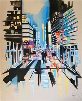 Lillian Gray - Our Avenue Oil on Canvas, Paintings