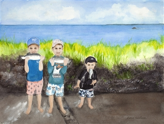 Nancy Holleran - 3 Boys Fishin' Watercolor on Paper, Paintings