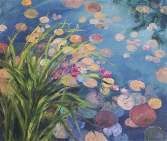 Margaret Adams - Sunlit Lillies Oil on Canvas, Paintings