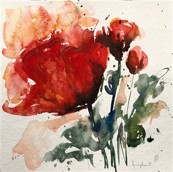 Angela Blattner - Poppy Flowers 2 Watercolor on Paper, Paintings