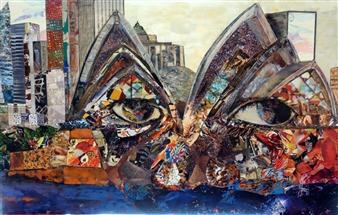 Claudia Mayer-Mallenau - Sydney Acrylic, Collage & Mixed Media on Canvas, Mixed Media