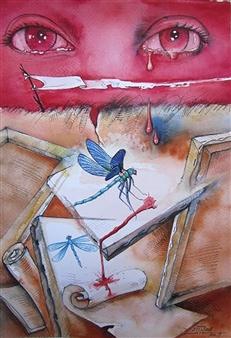Gilberto Arriaza - Rojo Pasión...El Arte de Amar Watercolor on Paper, Paintings