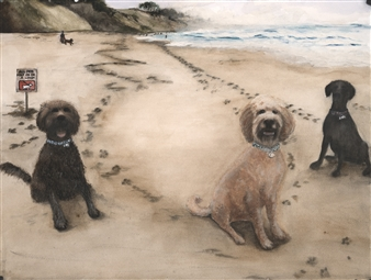 Nancy Holleran - Great Dog Resistance Watercolor on Paper, Paintings