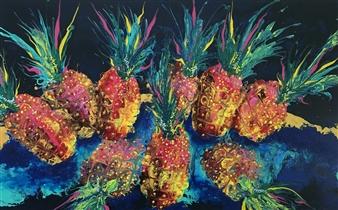 Angela Schiappa - Sweet at Night Mixed Media on Canvas, Mixed Media