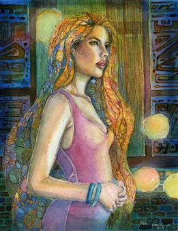 Yuki Goodman - In the Blue Night Watercolor & Ink on Paper, Paintings