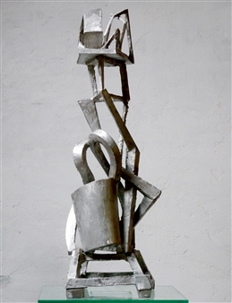 Attila Mata - Woman with Hat Aluminum, Sculpture