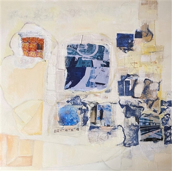 Stephanie Pitoy - Unfinished Thoughts, No. 15 Collage & Mixed Media on Canvas, Mixed Media