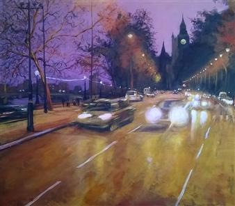 Emanuele Biagioni - Passeggiando Verso Westminster Acrylic on Fabric, Paintings