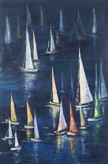 Arttiana - Night Regatta Oil on Canvas and Wood, Paintings