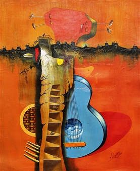 Picasso Picasso - From the series Guitarras No. IV Oil on Canvas, Paintings