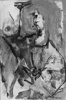 Katha Rossein - The Secret B&W Acrylic on Paper, Paintings