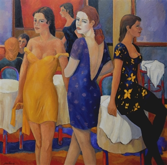 Stefano Puleo - Girls with Coffee Oil on Linen, Paintings