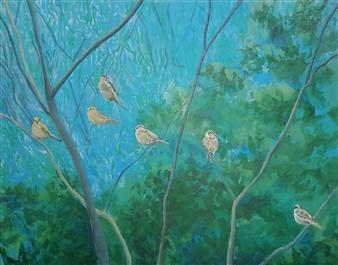 Jonathan Mann - Sparrows Acrylic on Canvas, Paintings
