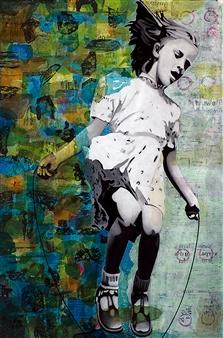 db Waterman - Jumping Jill Flash Acrylic & Collage on Canvas, Mixed Media
