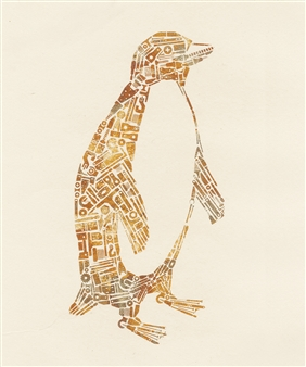 Yoshiki Uchida - Penguin Washi, Foil, Mixed Media