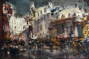 Alejandro Miras - Urbano con Lluvia Watercolor, Paintings